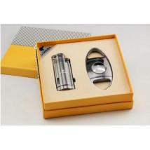 Cigar Lighter with Punch & Guillotine Cigar Cutter (COB-62-SET)