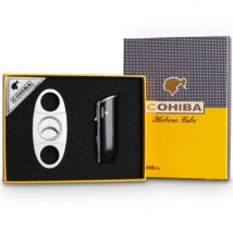 Cigar Lighter with Punch & Guillotine Cigar Cutter (COB-528-SET)