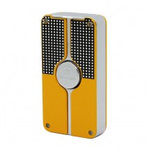 Triple Jet Flame Yellow Lighter with Cigar Cutter Punch