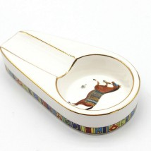 Horse White Ceramic Ashtray for 1 Cigar (ASH-101)