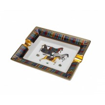 Ceramic Ashtray with Horses for 2 Cigars (ASH-21)