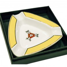 Ceramic Cigar Ashtray for 3 in Yellow and White Color