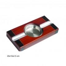 Ξύλινο Τασάκι Πούρου χρώμα Cherry με μεταλλικά στοιχεία