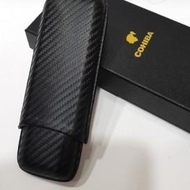 Leather Cigar Case for 2 Cigars Black (4069)