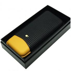Κίτρινη-Μαύρη Δερμάτινη Πουροθήκη για 3 Πούρα Μέγεθος Churchill
