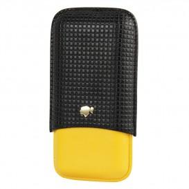 Κίτρινη-Μαύρη Δερμάτινη Πουροθήκη για 3 Πούρα Μέγεθος Magnum