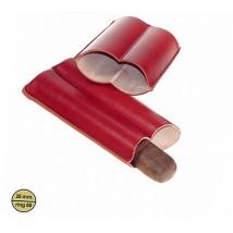 LUBINSKI - Δερμάτινη Θήκη για 2 Πούρα σε Κόκκινο Χρώμα - Δαχτυλίδι 60 (MB1332R)