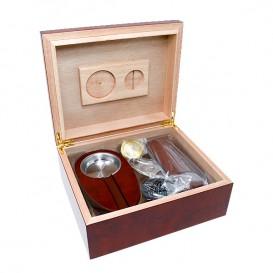 Ξύλινος Υγραντήρας / Humidor Πούρων  Cherry ΣΕΤ με Πουροθήκη, Τασάκι & Πουροκόφτη (0033-CH)