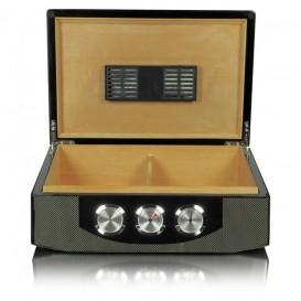 SIKARLAN - Carbon Fiber Humidor for 75 Cigars (1078B)