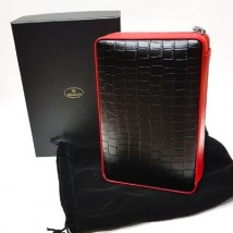 SIKARLAN - Travel / Portable Humidor Set in Black and Red with Cigar Lighter and Guillotine Cutter (4067)