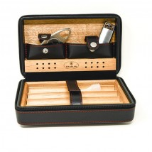 SIKARLAN - Travel / Portable Humidor Set with Cigar Lighter and Guillotine Cutter (4045)