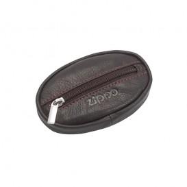 ZIPPO - Οβάλ Δερμάτινο Πορτοφόλι Κερμάτων χρώματος Mocha (2005413)