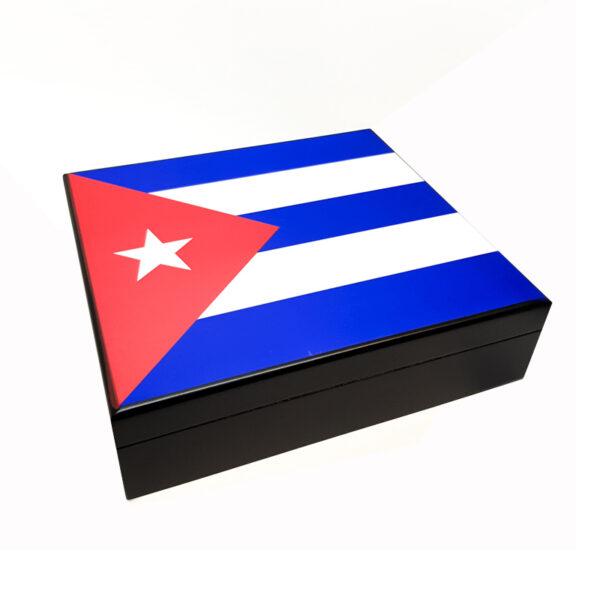 Wooden Humidor Cuban Flag for 12-20 Cigars (1003-C)
