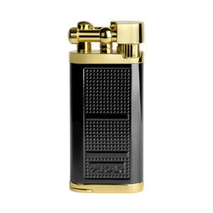 XIKAR – Pipeline Angled Candle Flame Pipe Lighter Black Gold (595BKGD)